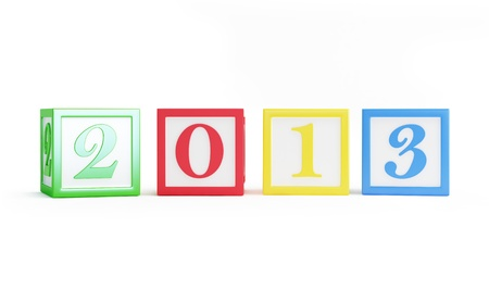 alphabet box 2013 new years isolated on a white background photo