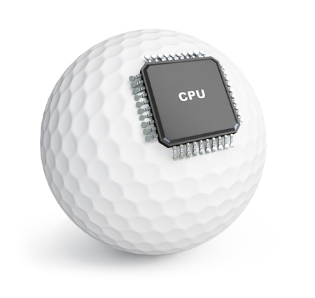 computer chip: golf ball microchip on white background