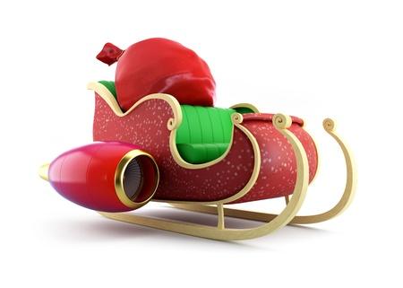 tra�neau: Santa tra�neau du P�re No�l et sac avec des cadeaux sur fond blanc