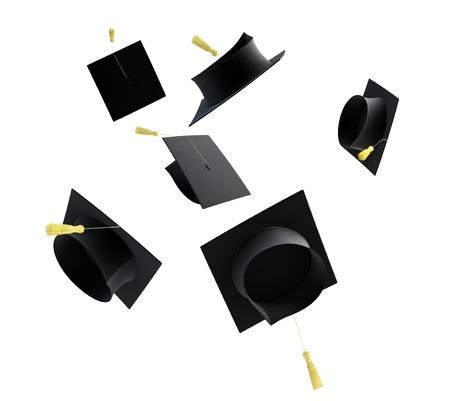 birrete: casquillo de la graduación aislado en un fondo blanco