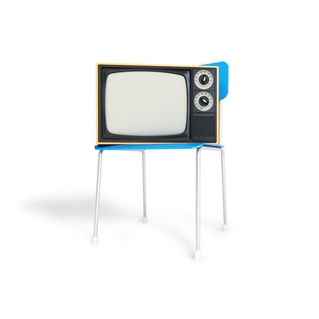 TV on the chair on a white background photo