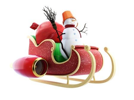 papa noel en trineo: Trineo de Santa Saco y mu�eco de nieve de Santa con regalos en el fondo blanco