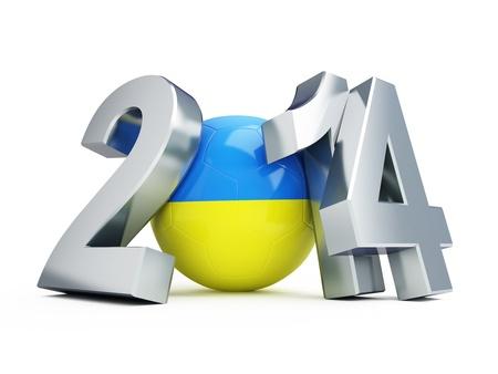 soccerball: Ukraine football 2014 on a white background Stock Photo