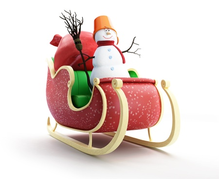 santa sleigh and Santa Stock Photo - 15480217