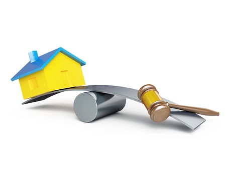 confiscation: confiscation of homes, seizure on a white background Stock Photo