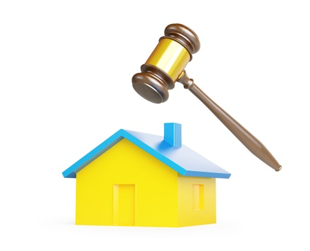 sequester: confiscation of homes, seizure on a white background Stock Photo