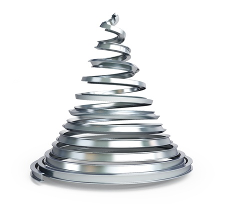 Christmas tree metal on a white background photo