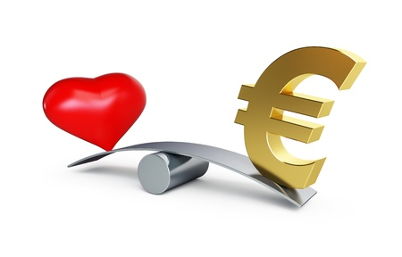venality: love or money balances on a white background