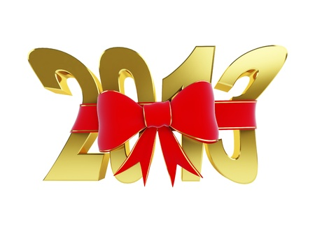 new year text red bow on a white background photo