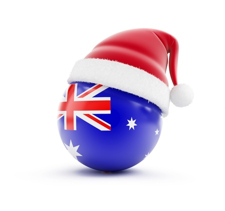 hat new year happy new year festive: Christmas in Australia on a white background Stock Photo