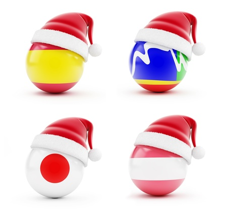 Christmas in Spain, Japan, Cape Town, Austria on a white background Stock Photo - 16373813
