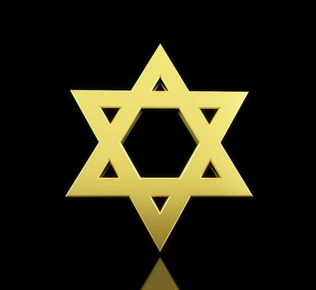 hasidism: gold star of David on a black background Stock Photo