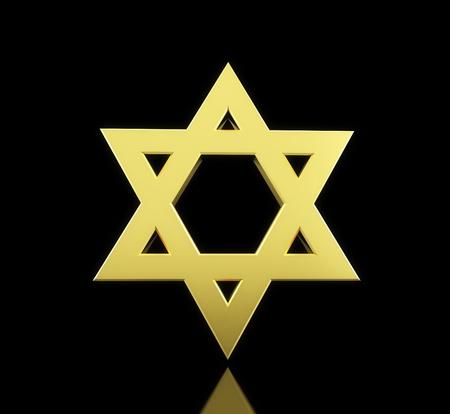 chassidim: oro stella di David su sfondo nero Archivio Fotografico