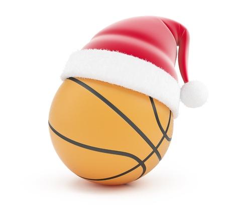 basketball ball  santa hat on a white background photo