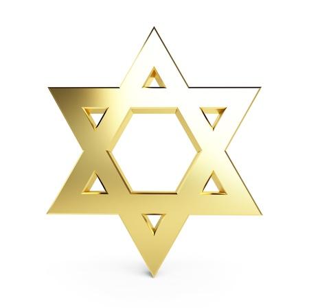 estrella de david: estrella de oro de David en un fondo blanco Foto de archivo