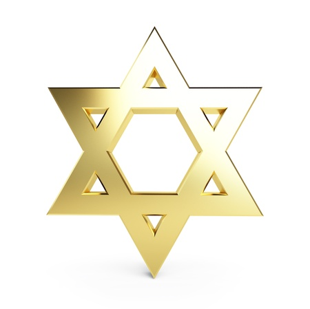 jewish faith: gold star of David on a white background Stock Photo
