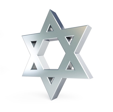 entwined: silver star of David on a white background