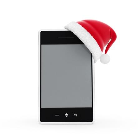 santa hat phone on a white background Stock Photo - 16583293