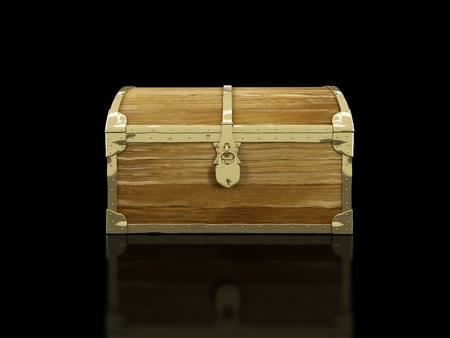 cofre del tesoro: viejo baúl sobre un fondo negro