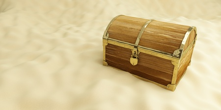 chest of drawers: old trunk on the beach, on a background of sand