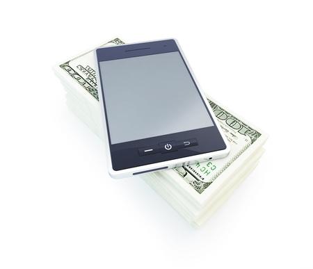 dollar phone on a white background photo