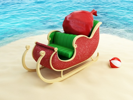 sleigh of Santa Claus on the beach