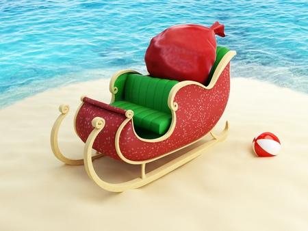 papa noel trineo: trineo de Santa Claus en la playa