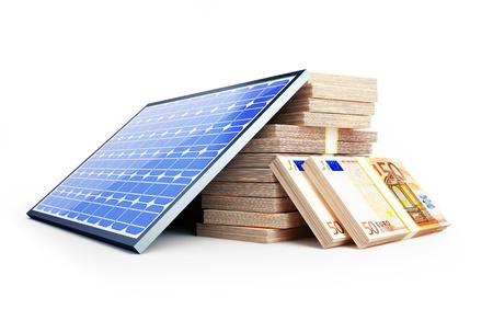 ecologically: solar panel euro on a white background