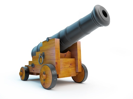 Old cannon on a white background Stock Photo - 16730096