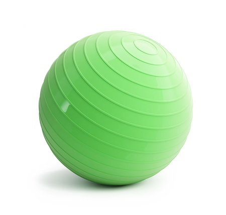 fitness green ball on a white background Stock Photo