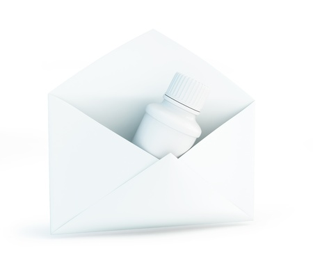 letter container for pills on a white background Stock Photo - 17096782