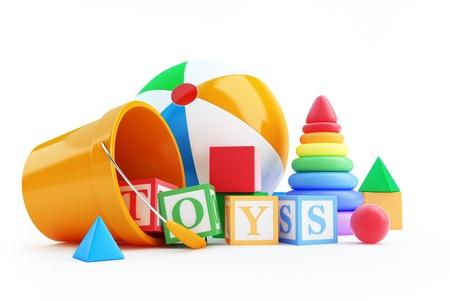 shape cub: toys alphabet cube, beach ball, pyramid on a white background