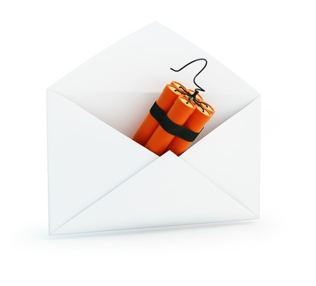 email bomb: letter dynamite on a white background