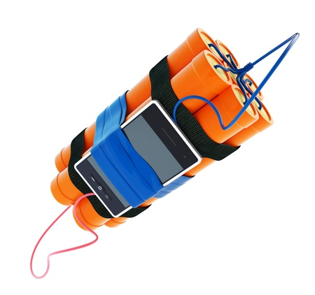 dynamite mobile phone time bomb on a white background Stock Photo - 17215544