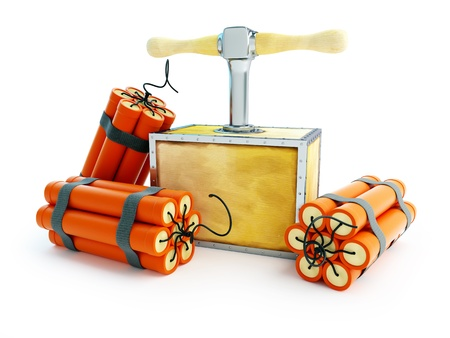 time bomb: detonator dynamite on a white background