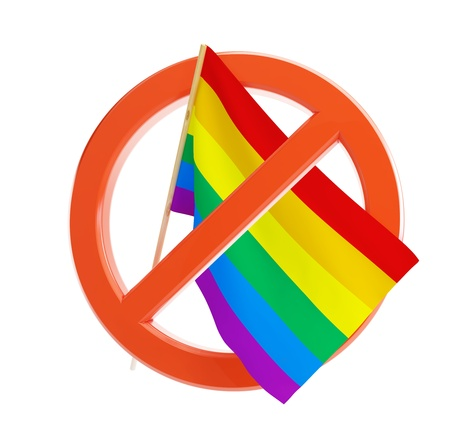 gay pride flag: no gay and lesbian flag on a white background