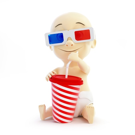baby 3d cinema glasses on black background photo