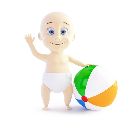 baby playing with beach Ball on a white background Stock Photo - 17475389