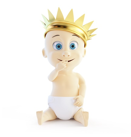 child with a golden crown on a white background