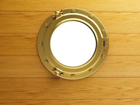 porthole gold wood photo