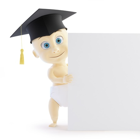 baby preschool graduation cap form on a white background photo