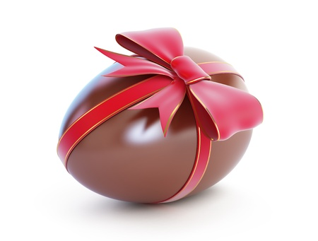 chocolate egg with bow on a white background Stock Photo