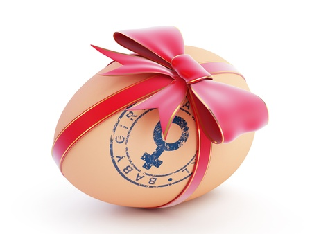 baby girl egg gift with bow on a white background photo