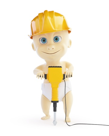 helmet construction: 3d baby jackhammer construction helmet on a white background Stock Photo