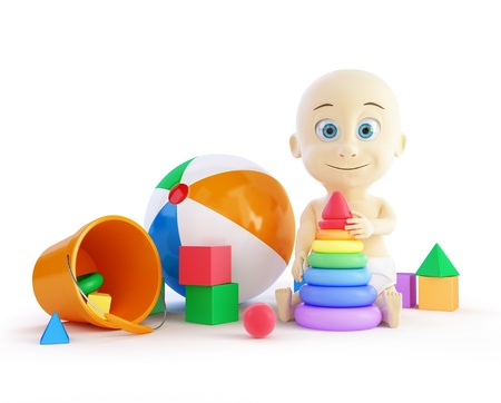 baby toys beach ball, pyramid on a white background photo