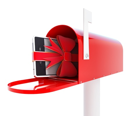 mailbox gift phone 3d Illustrations on a white background illustration