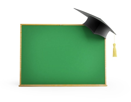 blackboard, chalkboard, graduation cap 3d Illustrations on a white background illustration