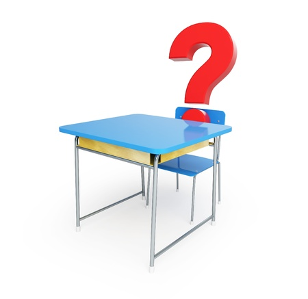 school desk question mark 3d Illustrations on a white background Stock Illustration - 18199338