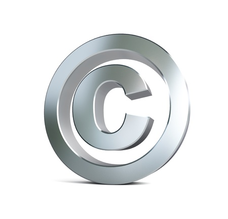 metal copyright sign 3d Illustrations on a white background