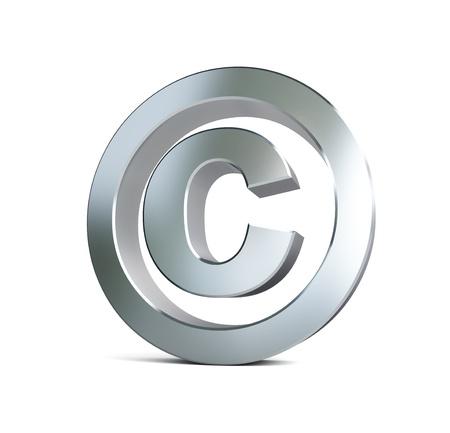 Metall-Copyright-Zeichen 3d Abbildungen auf einem weißen Hintergrund Standard-Bild - 18199333